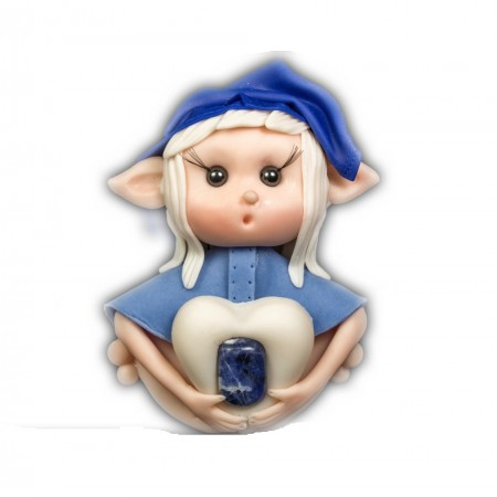Elfo portafortuna abbinato al segno zodiacale sagittario con Pietra Sodalite