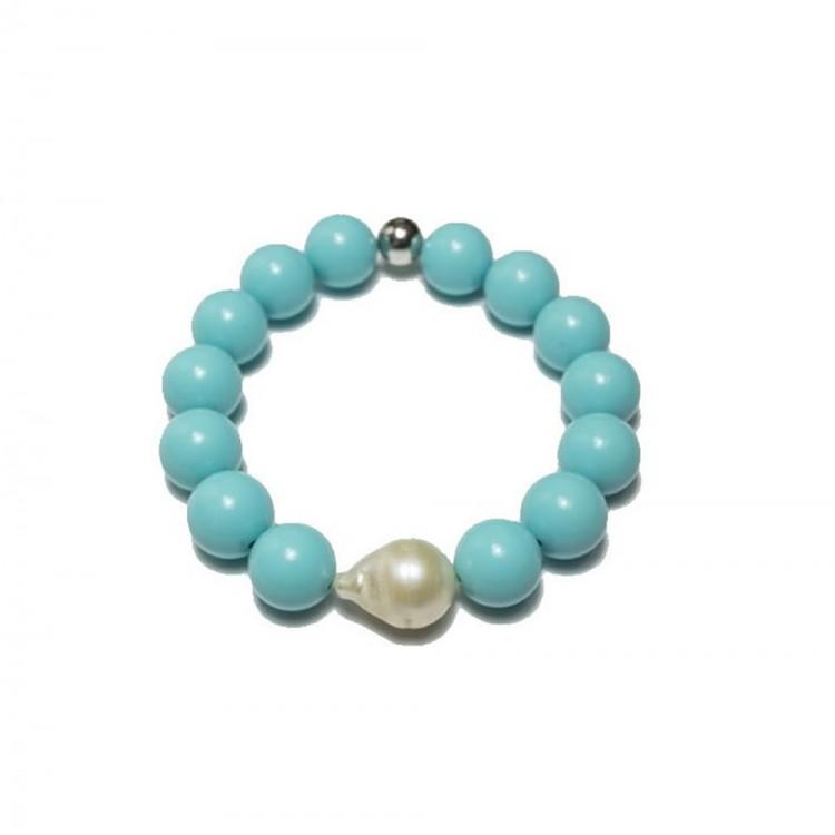 bracciale donna con pietre in turchese e perla di fiume