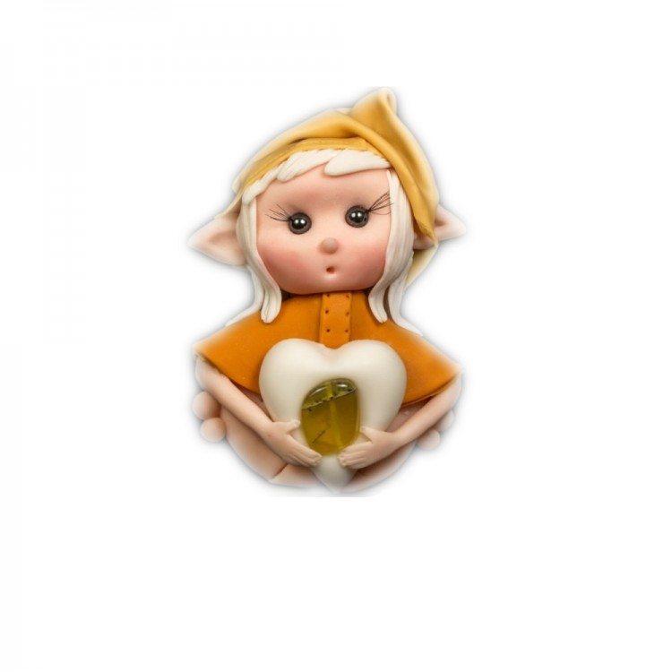 Elfo portafortuna gemelli con Pietra OPALE GIALLO