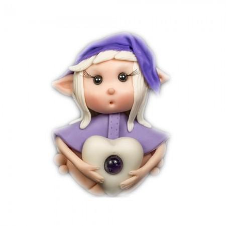 Elfo portafortuna vergine con Pietra Ametista
