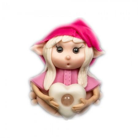 Elfo portafortuna bilancia con Pietra Quarzo rosa