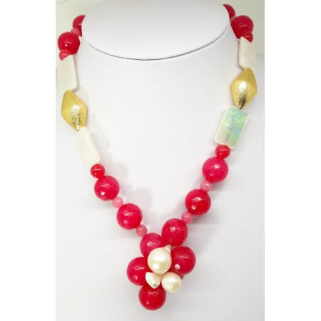COLLANA DONNA  in madreperla-agata color amarena ck193