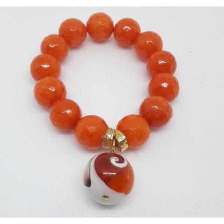 BRACCIALE  DONNA in agata arancio sfere BR 280