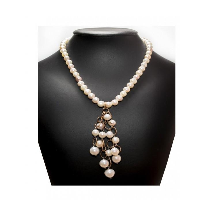 Collana Donna con Perle di fiume multicolore naturale