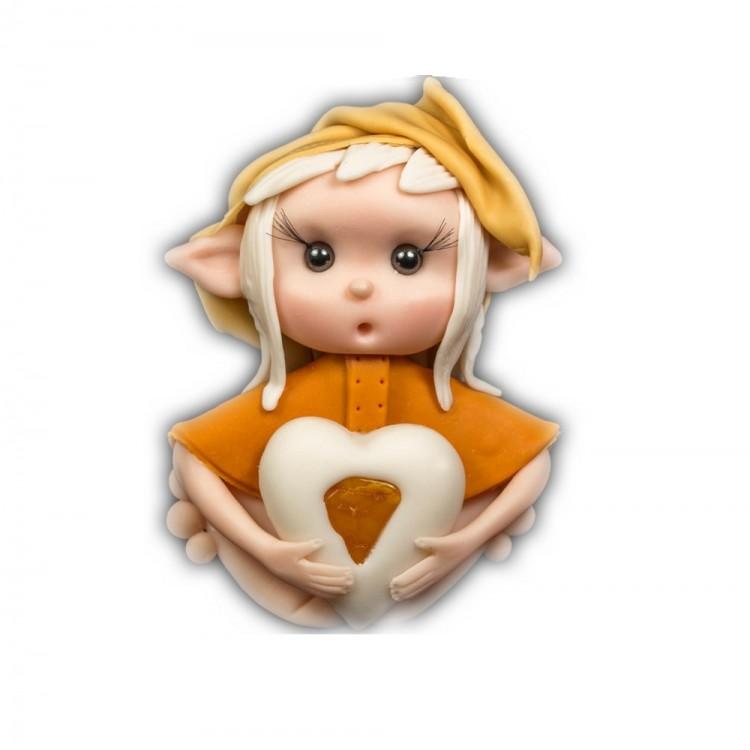 Elfo portafortuna leone con Pietra Ambra