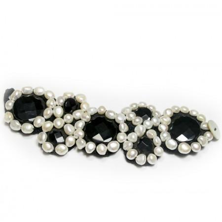Bracciale Donna onice nero e perle BR205