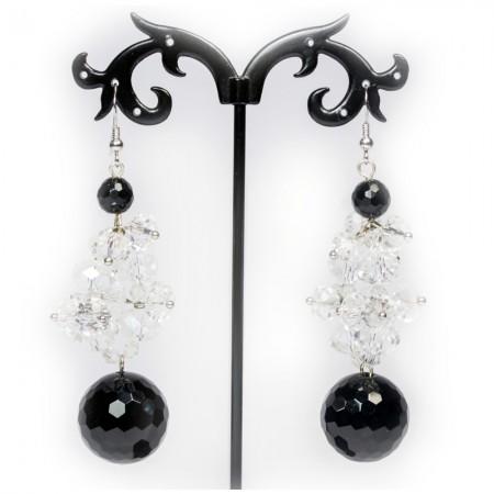 Orecchini Donna in pietre Onice Nero sfaccettato e cristalli Swarovski OR: 019
