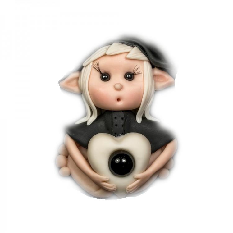 Elfo portafortuna capricorno con Pietra Onice nero