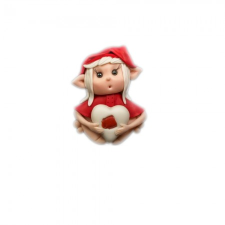 Elfo portafortuna  ariete con pietra Corallo rosso