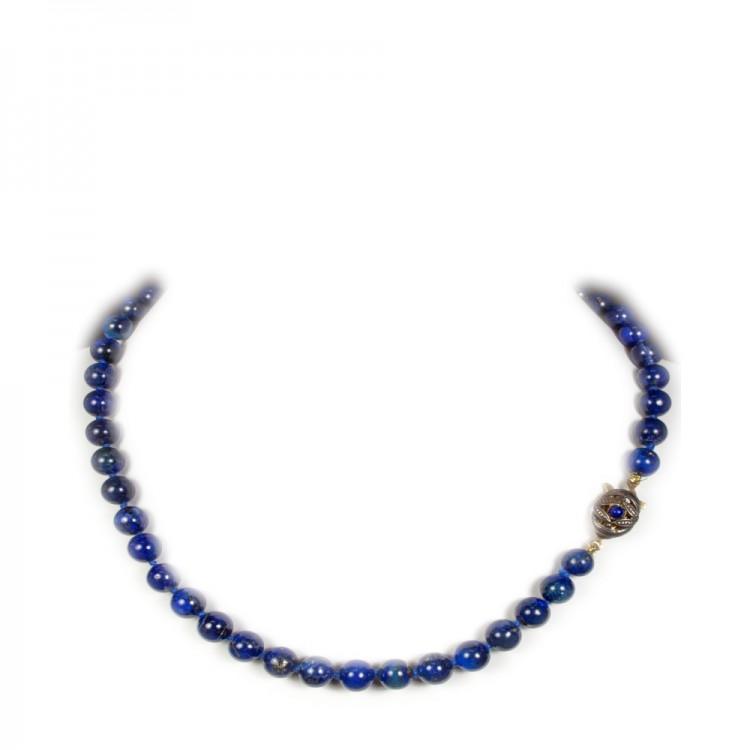 Collana realizzata in pietre  semipreziose Lapislazzuli, sfere di mm.8 ck100