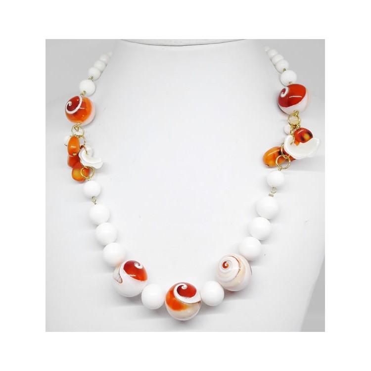 COLLANA  DONNA  in Agata Madreperla arancio e bianca