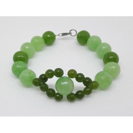 BRACCIALE  DONNA in Agata verde acqua e oliva BR 285