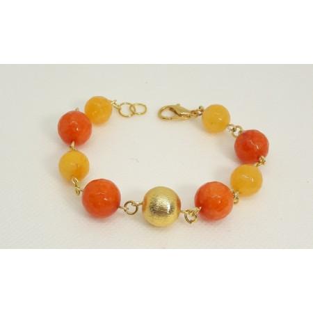 BRACCIALE  DONNA in agata arancio e giallo BR 28