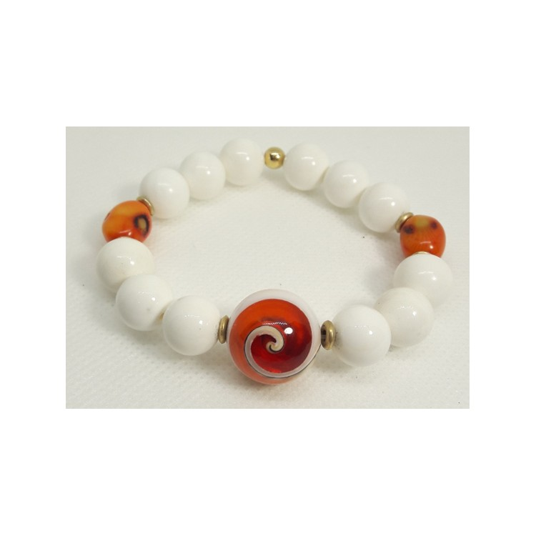BRACCIALE  DONNA in Madreperla arancio-Agata bianca BR 263