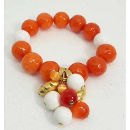 BRACCIALE  DONNA in Agata arancio, bianco- BR 279
