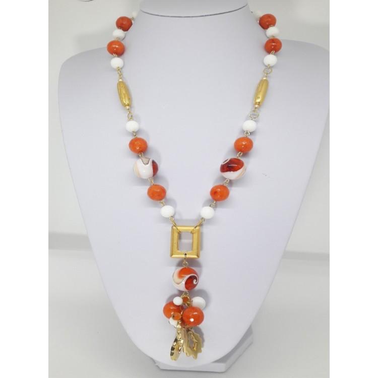 COLLANA DONNA in Agata bianca e arancio ck181