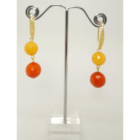 ORECCHINI DA DONNA in Agata arancio e giallo OR 103